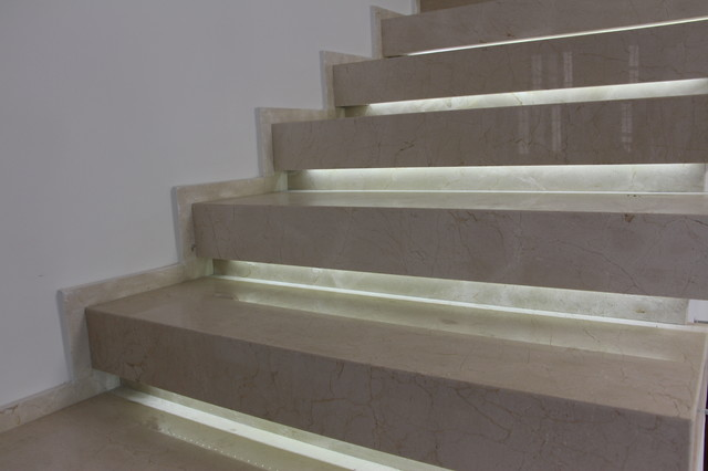 Crema Marfil Marble Staircase Architecture With LED Light Modern Staircase