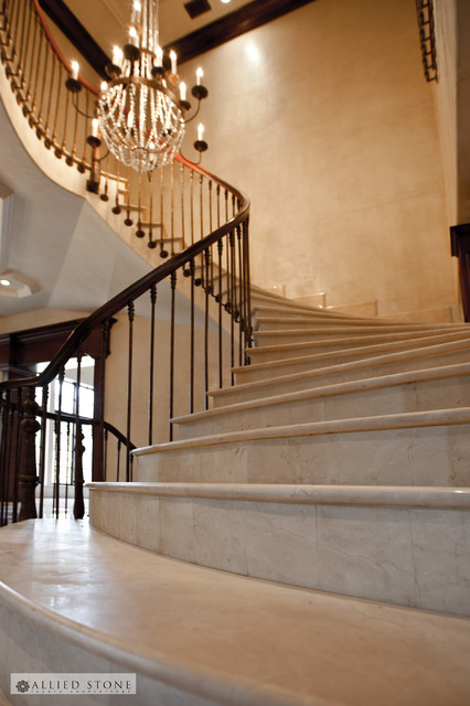 Crema Marfil Marble Stairs Mediterranean Staircase