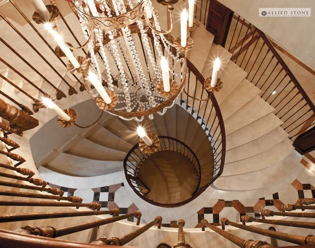 Mediterranean Staircase Tower : Crema marfil marble stairs mediterranean staircase