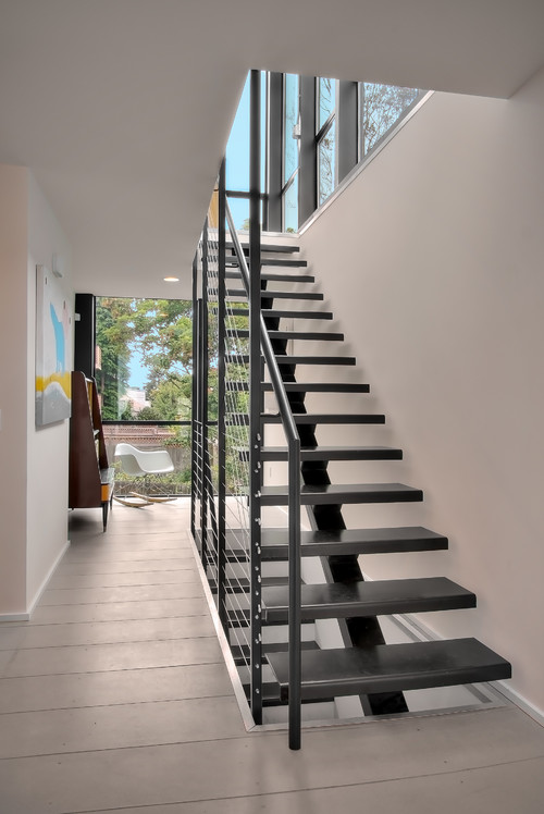 Natural stone on metal stringer stairs
