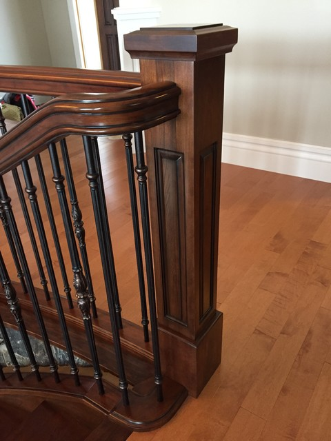 Curved Cherry Staircase Traditional Staircase
