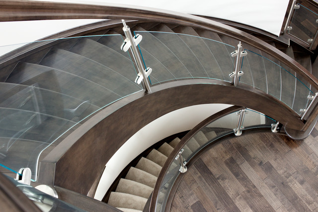 Curved Glass Maple Stair Modern Staircase