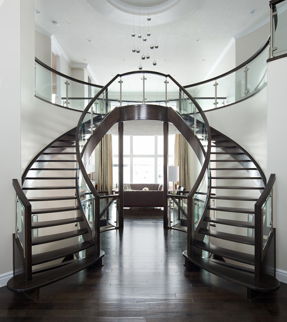 Curved glass maple stair modern staircase other by for Double curved staircase