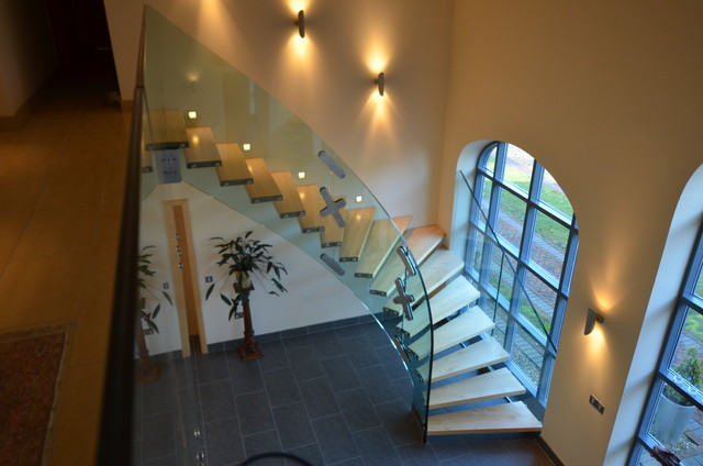 curved glass staircase modern-staircase