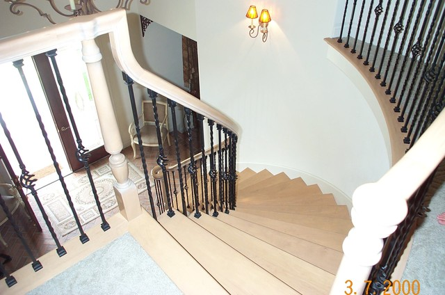 Curved Stair Project. Garafalo Residence. Melbourne Beach Fl transitional-staircase