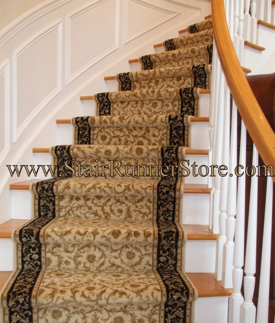Curved Staircase Stair Runner Installation Traditional