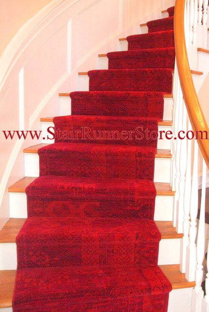 Curved Staircase Stair Runner Installations Traditional