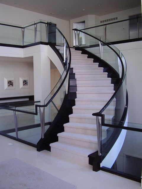 Curved Staircase With Glass Balustrade Modern Staircase Other By Roes Stair Corp