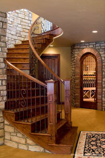 Curved stairs mediterranean staircase other metro for House plans with curved staircase