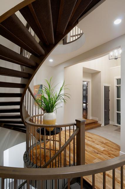 Curved Stairs Modern Staircase Calgary By Veranda