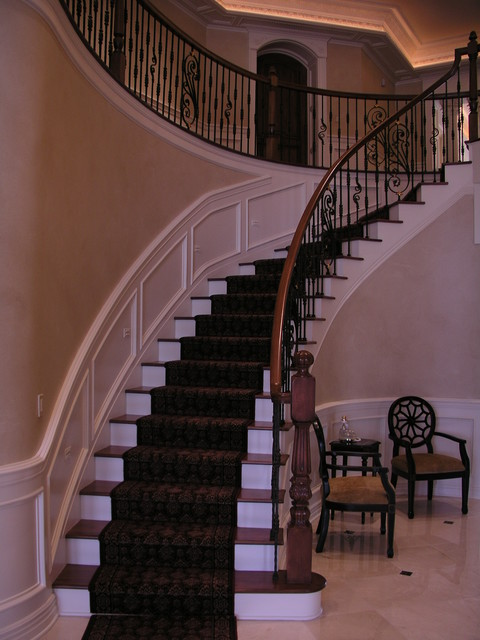 Curved Stairway traditional-staircase