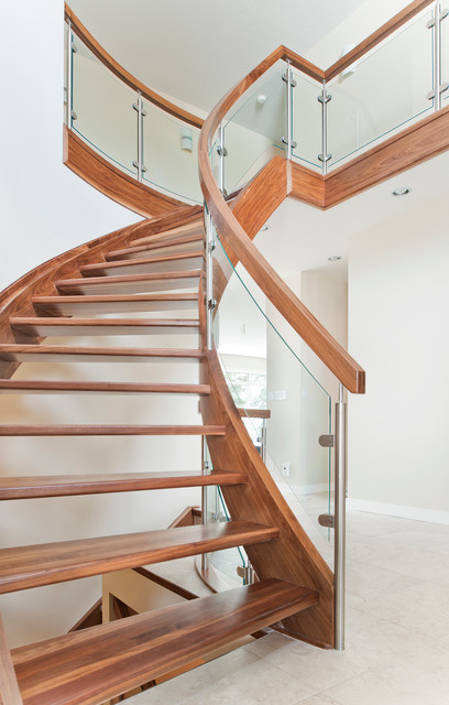 Delightful Curved Walnut Stair With Curved Glass Contemporary Staircase