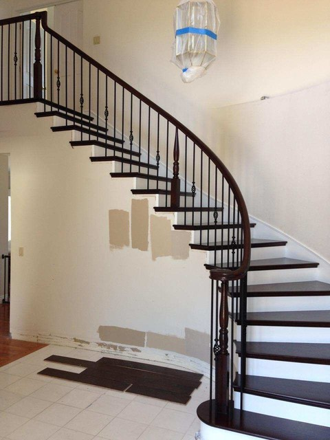Curved Wood amp Iron Railing Steps Transitional