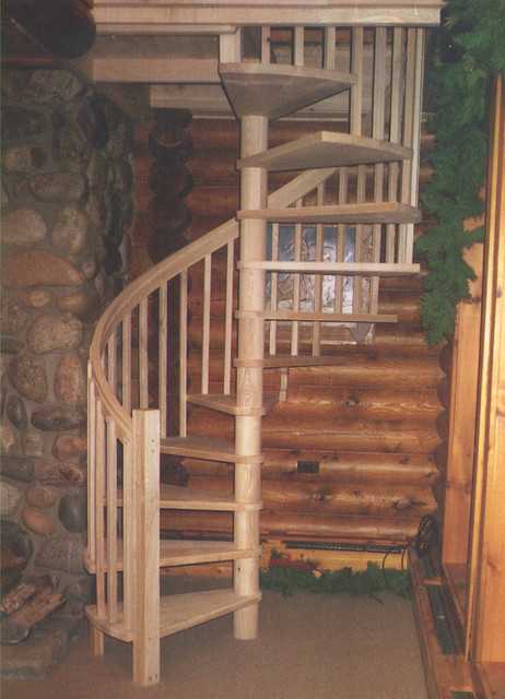 Custom Ash Spiral Staircase Rustic Staircase Toronto
