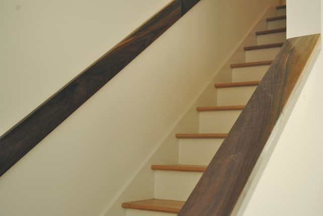 Captivating Custom Black Walnut Handrail Modern Staircase