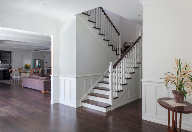 Custom Design Home   Hamptons Style Transitional Staircase