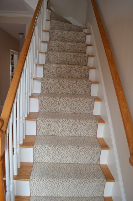 Custom fabricated stair runner belmont ma contemporary Belmont carpets and wood flooring