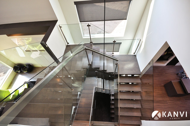 Custom Houses Contemporary Staircase Edmonton By