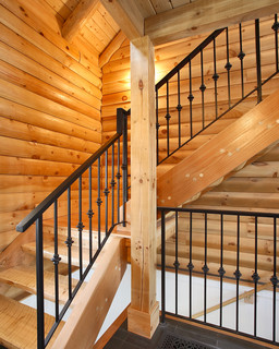Custom Log Home Rustic Staircase Boston By Color