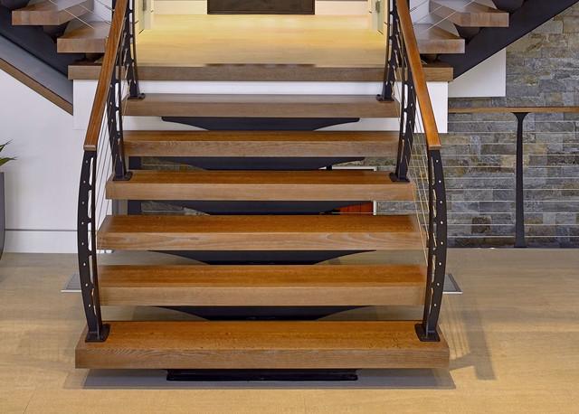 Custom Modern Stairs modern-living-room