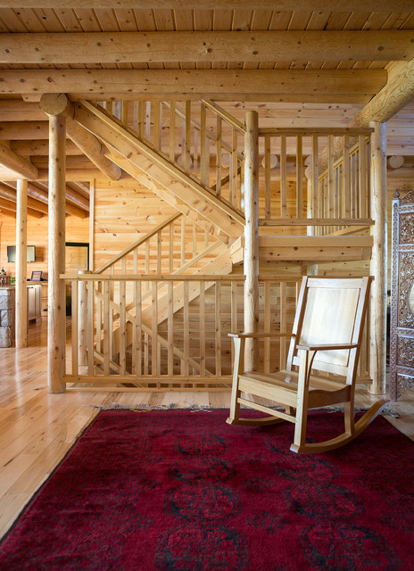 Custom Northern Maine Log Home Estate Rustic Staircase