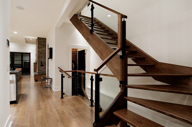 Custom railing in modern inner city home contemporary for Custom staircase design