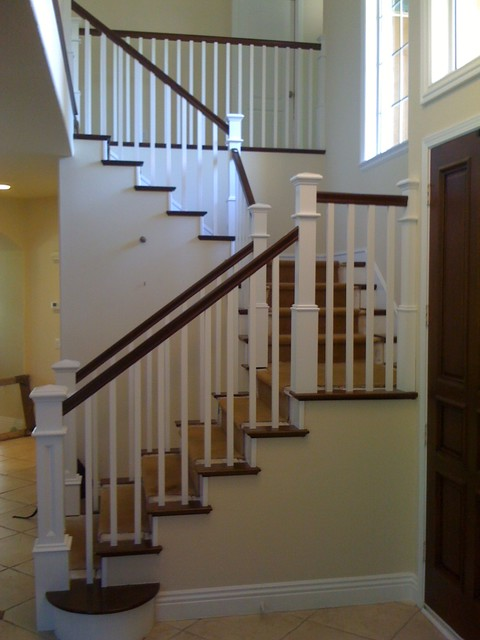 Custom Recessed Panel Columns In A Craftsman Staircase Contemporary  Staircase