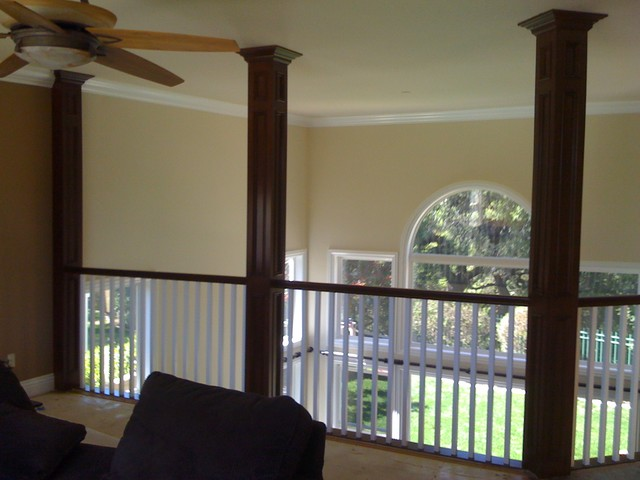 Custom Recessed Panel Columns in a Craftsman Staircase craftsman-staircase