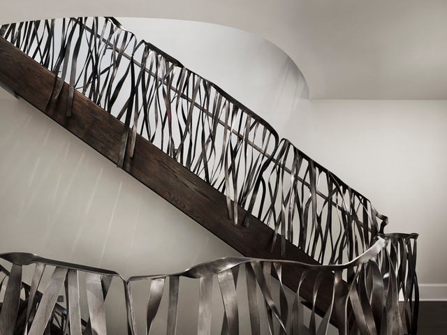 Custom Quot Ribbon Quot Rail And Handles Modern Staircase