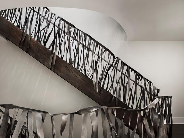"Custom ""Ribbon"" Rail and Handles - Modern - Staircase - philadelphia - by twelve26studio"
