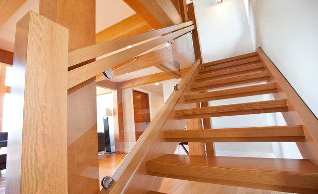 Custom Solid Douglas Fir Stairs Contemporary Staircase Vancouver By Island Timberframe Ltd