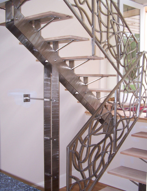 Custom Stainless Steel Staircase, Southampton, NY eclectic-staircase