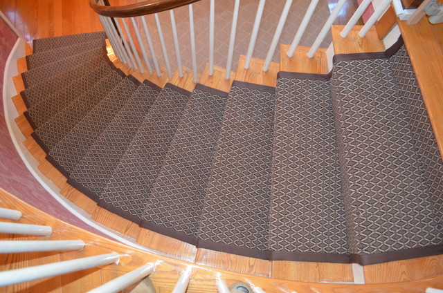 Custom stair runner with quot binding traditional