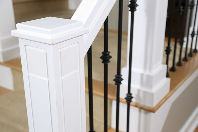 Custom staircase newel post and wrought iron balusters - Craftsman ...