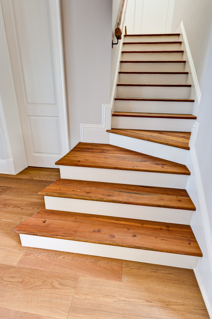 Custom Stairs Made With Old Reclaimed Pine Beams Craftsman Staircase