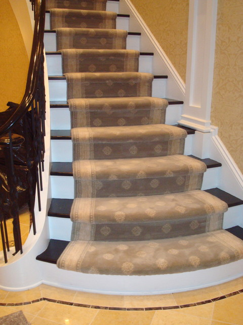 Custom Stairs  Wool Carpet With Attached Border. Traditional Staircase
