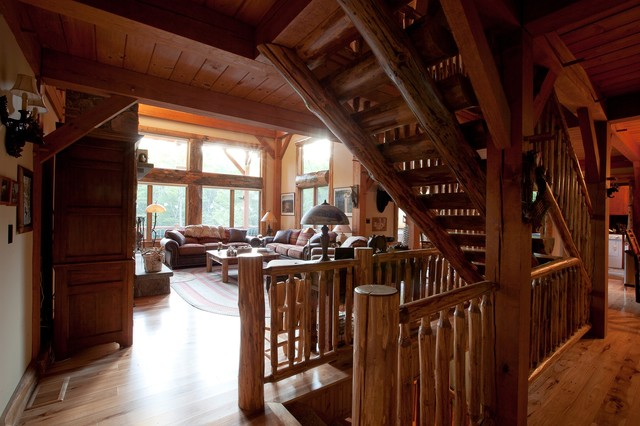 Custom Woodhouse Timber Frame in Bethel, NY rustic-staircase
