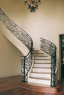 Custom Wrought Iron Traditional Staircase Houston
