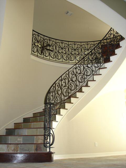 Custom Wrought Iron Traditional Staircase Houston