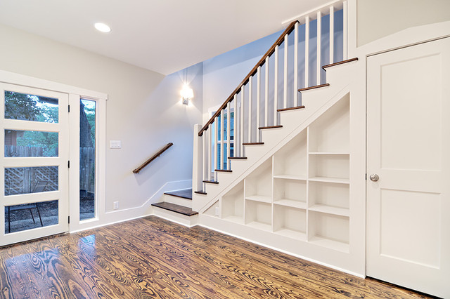 Customized Staircase With Built In Shelves Traditional