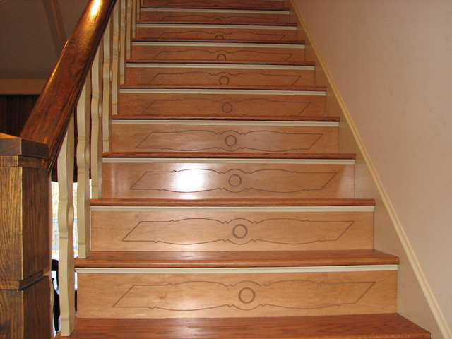 Decorative Stair Risers Traditional Staircase