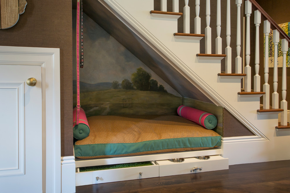 Example of a classic wooden staircase design in San Francisco