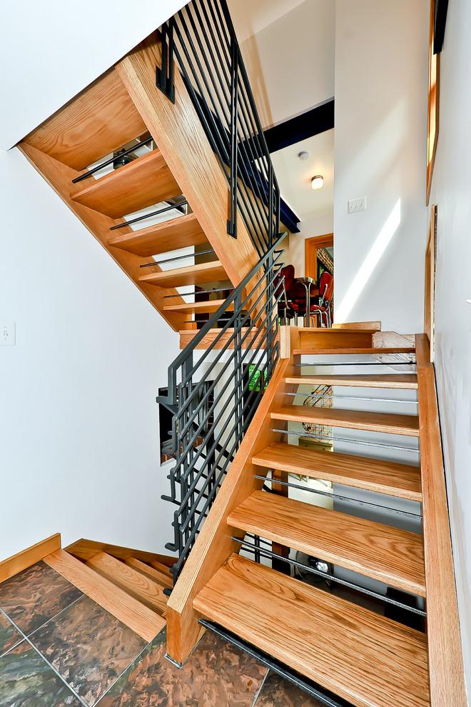 Staircase - contemporary wooden open staircase idea in DC Metro