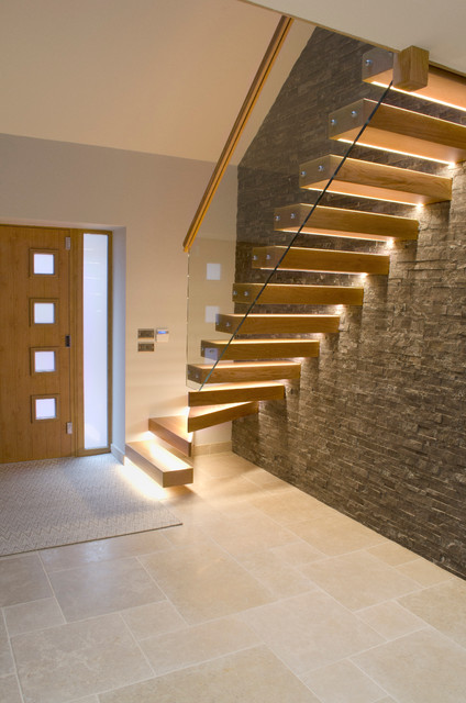 Superieur Inspiration For A Large Contemporary Wooden Floating Open And Glass Railing  Staircase Remodel In Other