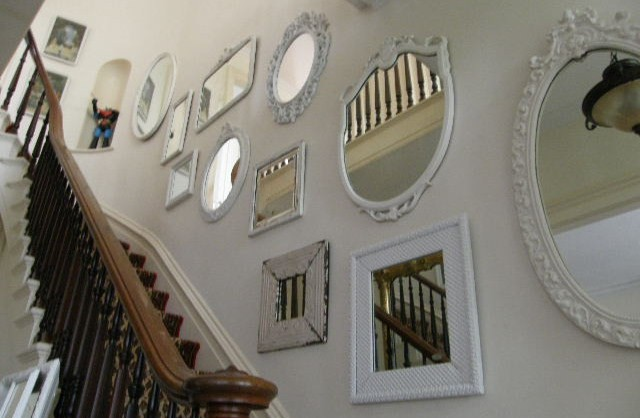 eclectic staircase by Donna Thomas Vintage Chic Furniture