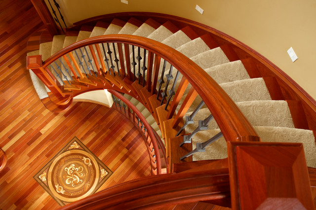 Double curved stairs traditional staircase other for Double curved staircase
