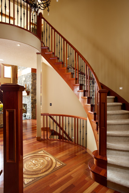 Double curved stairs traditional staircase edmonton for Double curved staircase