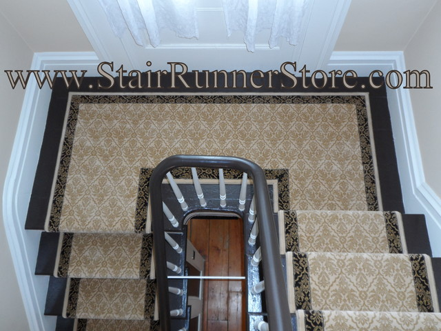 Double Landing Stair Runner Installations traditional-staircase