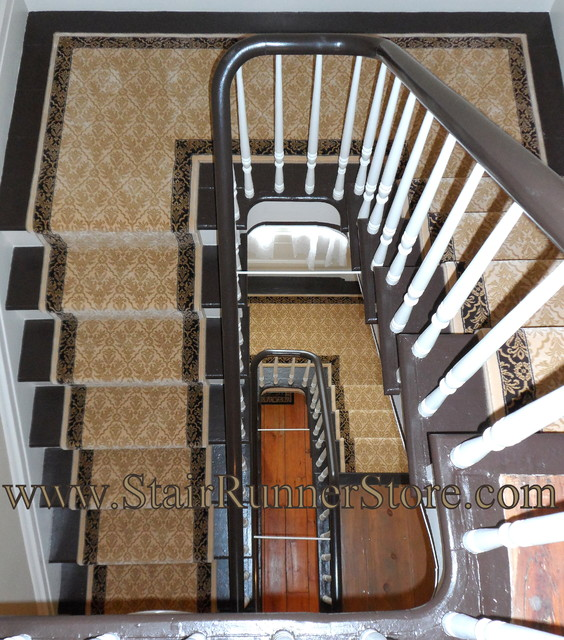 Double Landing Stair Runner Installations Traditional Staircase