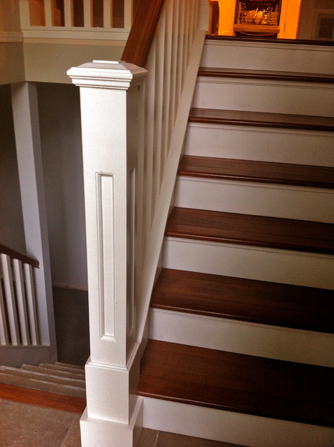 Dover Post On Stained Maple Treads Traditional